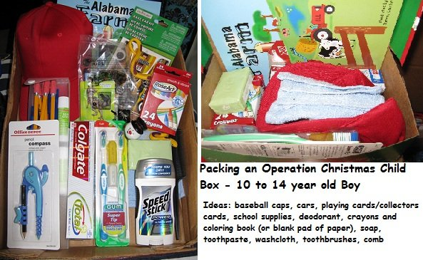 Operation Christmas Child Box Packed: 10 to 14 year old boy ...