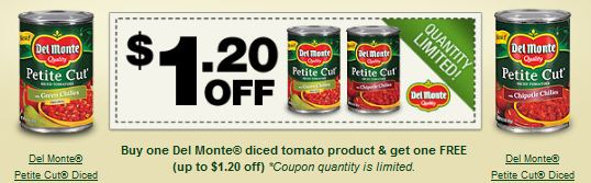 photograph regarding Del Monte Printable Coupons called Sizzling! Acquire just one Del Monte Pee Reduce Diced Tomatoes Buy just one
