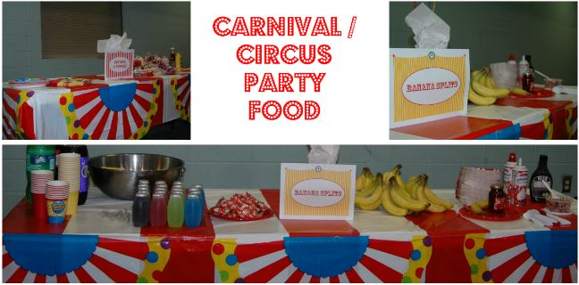 Carnival circus theme birthday party ideas saving toward a better life saving toward a - Carnival party menu ...