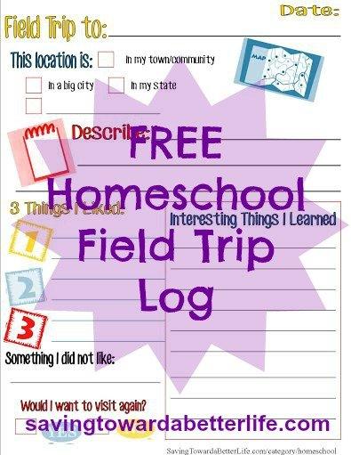 free homeschool field trip log elementary middle school saving