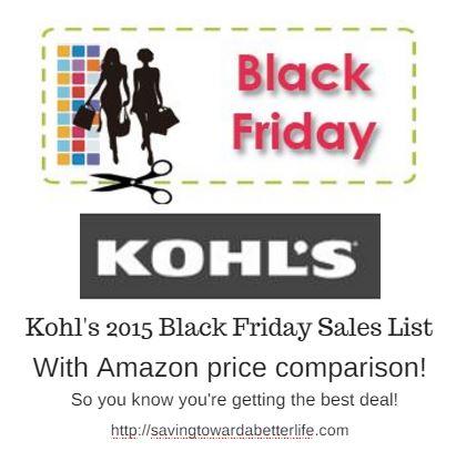 Kohl's Black Friday 2015 Deals (With Amazon Price Comparison