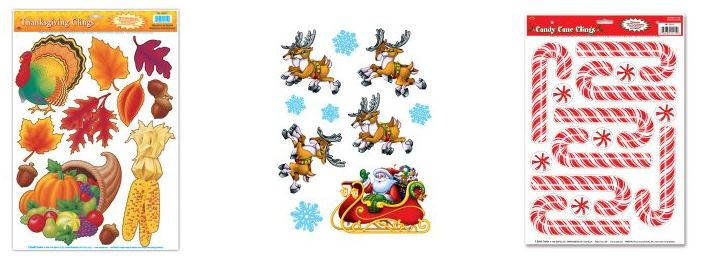 holiday window cling decorations $1.85 per sheet (thanksgiving and