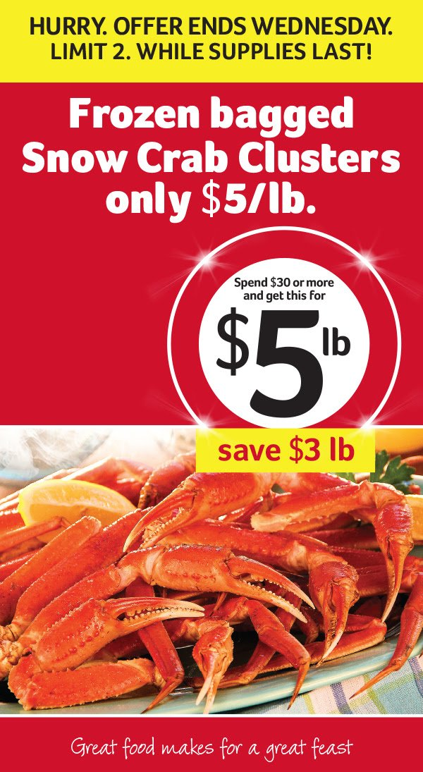 Winn-Dixie: Get Frozen Snow Crab Legs for $5/lb with $30 purchase ...