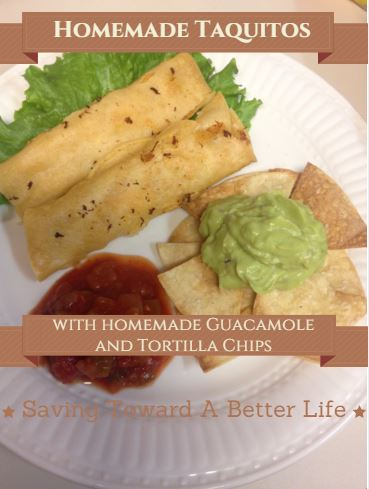 Easy, Homemade Chicken and Cheese Taquitos (plus homemade chips and guacamole)