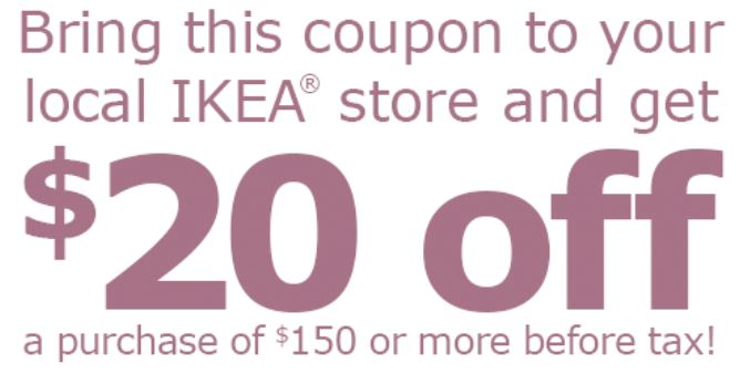 Ikea coupon 20 off 150 purchase saving toward a for Buy ikea voucher online