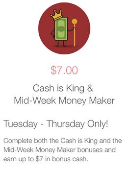Ibotta: Mid-Week Moneymaker and Cash is King Bonuses (up to