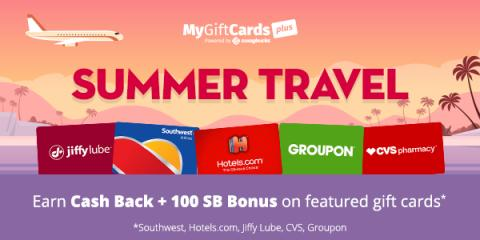 if youre planning ahead on your summer travel mygiftcardsplus is a great way to plan smart you buy gift cards there and get cash back in the form of sb - Travel Gift Cards