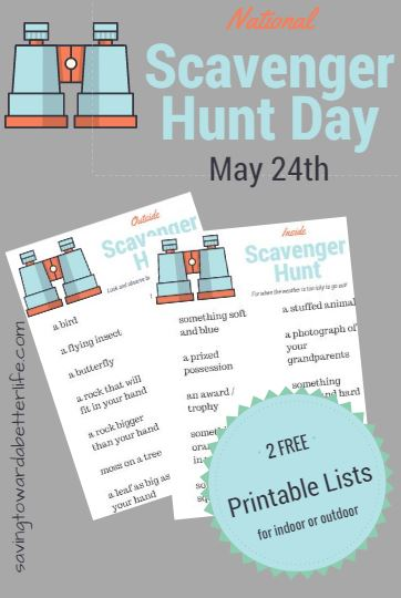 picture regarding Free Printable Scavenger Hunt named Countrywide Scavenger Hunt Working day May perhaps 24th Absolutely free Printable
