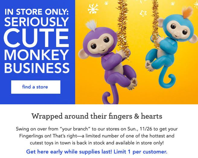 Fingerlings in stock toys r us