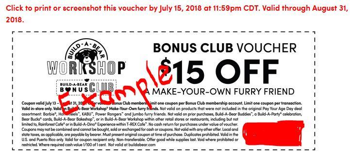 graphic regarding Buildabear Coupon Printable identified as Final Working day toward Declare Establish-A-Go through $15 off Reward Club Coupon