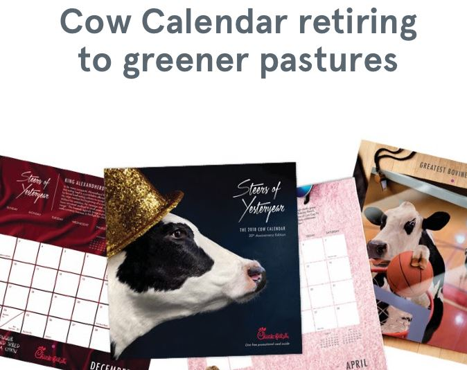 image regarding Chickfila Printable Coupon known as The Chick-Fil-A Cow Calendar is transferring absent within just 2019 and