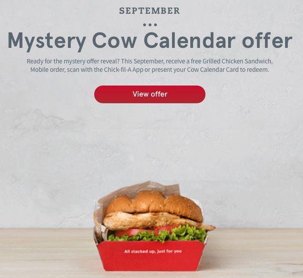 Chick Fil A Calendar.Chick Fil A Calendar Card September 2018 Mystery Item Saving