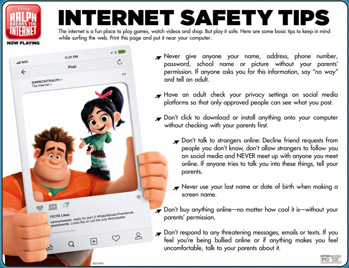 image about Free Printable Internet Safety Worksheets called No cost RALPH BREAKS THE Web Printable Functions and