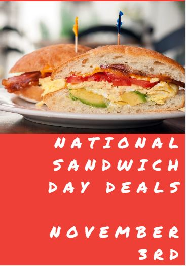 photograph about Schlotzsky's Printable Menu named Nationwide Sandwich Working day Promotions - November 3, 2018 - Conserving