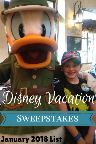 UPDATED* Disney Vacation Sweepstakes List for January 2019 - Saving