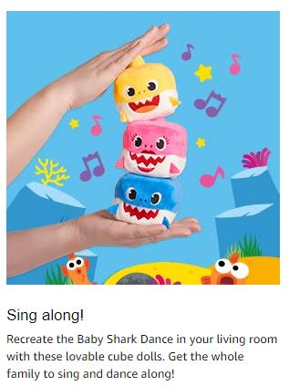 "ac9a6d1b1 Hurry to Amazon if you've been wanting the ""Baby Shark"" Song cubes!  Currently all three, Baby Shark, Mommy Shark and Daddy Shark are IN STOCK  for just $7.99 ..."