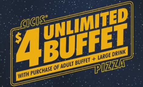 picture relating to Cici's Pizza Printable Coupons named Cicis Pizza $4 Buffet Offer upon Might 4th