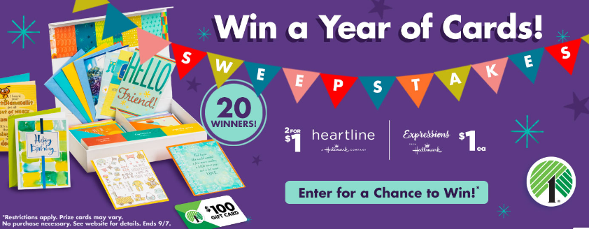 Dollar Tree Hallmark Cards and $100 Gift Card Sweepstakes