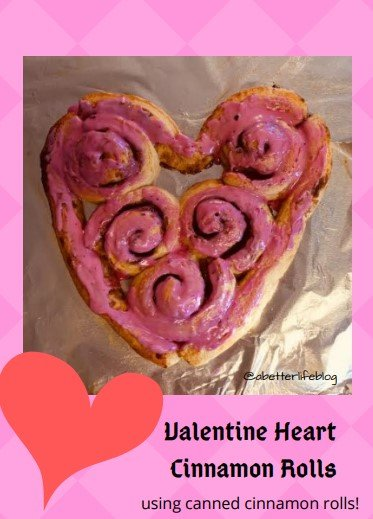 Valentine heart cinnamon rolls